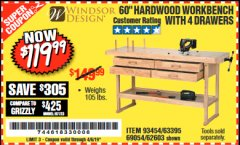 "Harbor Freight Coupon 60"", 4 DRAWER HARDWOOD WORKBENCH Lot No. 63395/93454/69054/62603 Valid Thru: 4/5/19 - $119.99"