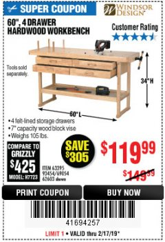 "Harbor Freight Coupon 60"", 4 DRAWER HARDWOOD WORKBENCH Lot No. 63395/93454/69054/62603 Expired: 2/17/19 - $119.99"