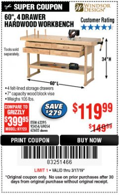 "Harbor Freight Coupon 60"", 4 DRAWER HARDWOOD WORKBENCH Lot No. 63395/93454/69054/62603 Expired: 3/17/19 - $119.99"