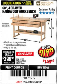 "Harbor Freight Coupon 60"", 4 DRAWER HARDWOOD WORKBENCH Lot No. 63395/93454/69054/62603 Expired: 4/8/19 - $119.99"