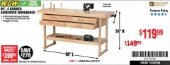 "Harbor Freight Coupon 60"", 4 DRAWER HARDWOOD WORKBENCH Lot No. 63395/93454/69054/62603 Expired: 4/21/19 - $119.99"