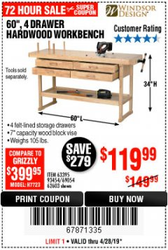 "Harbor Freight Coupon 60"", 4 DRAWER HARDWOOD WORKBENCH Lot No. 63395/93454/69054/62603 Expired: 4/28/19 - $119.99"