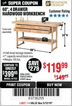 "Harbor Freight Coupon 60"", 4 DRAWER HARDWOOD WORKBENCH Lot No. 63395/93454/69054/62603 Expired: 5/12/19 - $119.99"