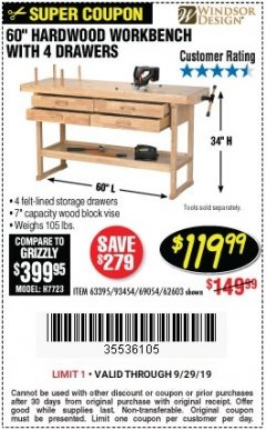 "Harbor Freight Coupon 60"", 4 DRAWER HARDWOOD WORKBENCH Lot No. 63395/93454/69054/62603 Expired: 9/29/19 - $119.99"
