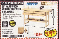 "Harbor Freight Coupon 60"", 4 DRAWER HARDWOOD WORKBENCH Lot No. 63395/93454/69054/62603 Expired: 10/31/19 - $119.99"