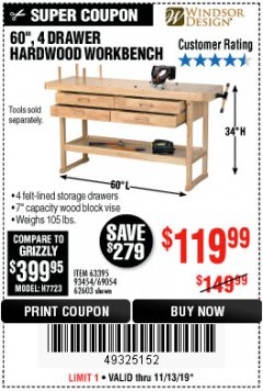 "Harbor Freight Coupon 60"", 4 DRAWER HARDWOOD WORKBENCH Lot No. 63395/93454/69054/62603 Expired: 11/13/19 - $119.99"