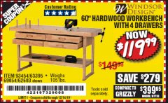 "Harbor Freight Coupon 60"", 4 DRAWER HARDWOOD WORKBENCH Lot No. 63395/93454/69054/62603 Expired: 12/14/19 - $119.99"
