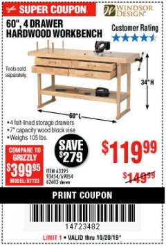 "Harbor Freight Coupon 60"", 4 DRAWER HARDWOOD WORKBENCH Lot No. 63395/93454/69054/62603 Expired: 10/20/19 - $119.99"