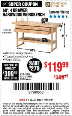 "Harbor Freight Coupon 60"", 4 DRAWER HARDWOOD WORKBENCH Lot No. 63395/93454/69054/62603 Expired: 11/24/19 - $119.99"