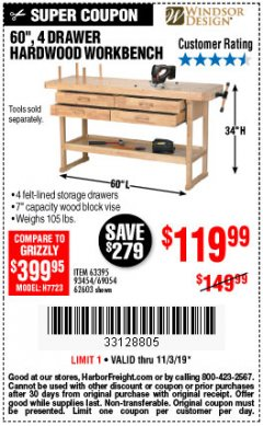 "Harbor Freight Coupon 60"", 4 DRAWER HARDWOOD WORKBENCH Lot No. 63395/93454/69054/62603 Expired: 11/3/19 - $119.99"
