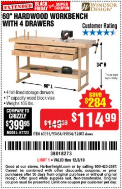 "Harbor Freight Coupon 60"", 4 DRAWER HARDWOOD WORKBENCH Lot No. 63395/93454/69054/62603 Expired: 12/8/19 - $114.99"