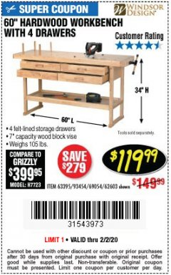 "Harbor Freight Coupon 60"", 4 DRAWER HARDWOOD WORKBENCH Lot No. 63395/93454/69054/62603 Expired: 2/2/20 - $119.99"