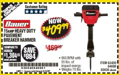 Harbor Freight Coupon BAUER 15 AMP 70 LB. PRO BREAKER HAMMER Lot No. 63439/63436/64608 EXPIRES: 6/30/20 - $409.99