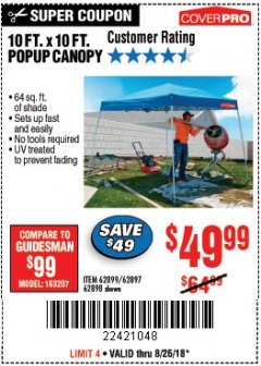 Harbor Freight Coupon COVERPRO 10 FT. X 10 FT. POPUP CANOPY Lot No. 62898/62897/62899/69456 Expired: 8/26/18 - $49.99