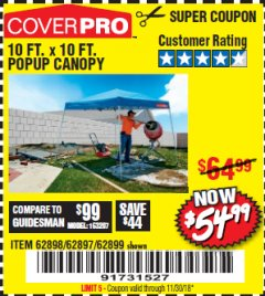Harbor Freight Coupon COVERPRO 10 FT. X 10 FT. POPUP CANOPY Lot No. 62898/62897/62899/69456 Expired: 11/30/18 - $54.99