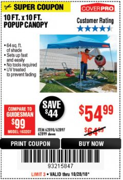 Harbor Freight Coupon COVERPRO 10 FT. X 10 FT. POPUP CANOPY Lot No. 62898/62897/62899/69456 Expired: 10/28/18 - $54.99
