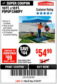 Harbor Freight Coupon COVERPRO 10 FT. X 10 FT. POPUP CANOPY Lot No. 62898/62897/62899/69456 Expired: 2/10/19 - $54.99