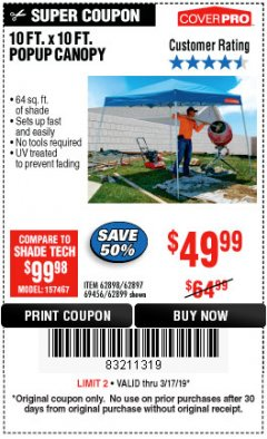 Harbor Freight Coupon COVERPRO 10 FT. X 10 FT. POPUP CANOPY Lot No. 62898/62897/62899/69456 Expired: 3/17/19 - $49.99