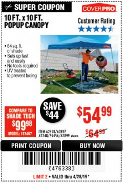 Harbor Freight Coupon COVERPRO 10 FT. X 10 FT. POPUP CANOPY Lot No. 62898/62897/62899/69456 Expired: 4/28/19 - $54.99