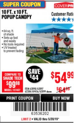 Harbor Freight Coupon COVERPRO 10 FT. X 10 FT. POPUP CANOPY Lot No. 62898/62897/62899/69456 Expired: 5/20/19 - $54.99