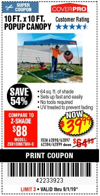 Harbor Freight Coupon COVERPRO 10 FT. X 10 FT. POPUP CANOPY Lot No. 62898/62897/62899/69456 Expired: 9/1/19 - $39.99