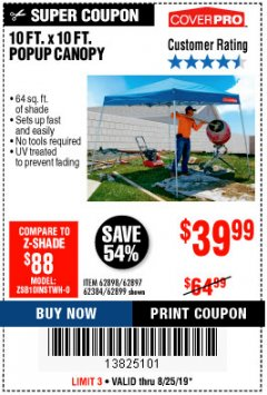 Harbor Freight Coupon COVERPRO 10 FT. X 10 FT. POPUP CANOPY Lot No. 62898/62897/62899/69456 Expired: 8/25/19 - $39.99