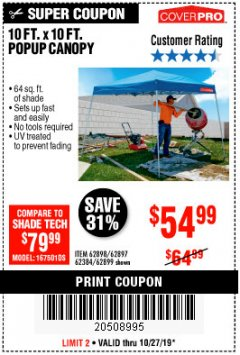 Harbor Freight Coupon COVERPRO 10 FT. X 10 FT. POPUP CANOPY Lot No. 62898/62897/62899/69456 Expired: 10/27/19 - $54.99