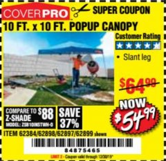 Harbor Freight Coupon COVERPRO 10 FT. X 10 FT. POPUP CANOPY Lot No. 62898/62897/62899/69456 Expired: 12/30/19 - $54.99