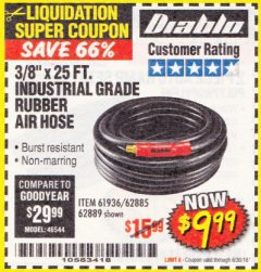 Harbor Freight Coupon DIABLO 3/8 IN. X 25 FT. PREMIUM RUBBER AIR HOSE Lot No. 61936/69581/62885/62889 Expired: 6/30/18 - $9.99