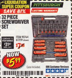 Harbor Freight Coupon 32 PIECE SCREWDRIVER SET Lot No. 61259/90764 EXPIRES: 5/31/19 - $5.99