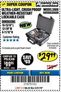 Harbor Freight Coupon APACHE 3800 WEATHERPROOF PROTECTIVE CASE Lot No. 63927 Expired: 5/31/18 - $29.99