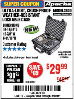 Harbor Freight Coupon APACHE 3800 WEATHERPROOF PROTECTIVE CASE Lot No. 63927 Expired: 8/27/18 - $29.99