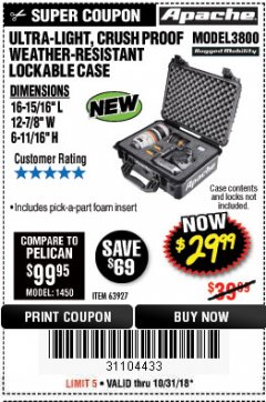 Harbor Freight Coupon APACHE 3800 WEATHERPROOF PROTECTIVE CASE Lot No. 63927 Expired: 10/31/18 - $29.99