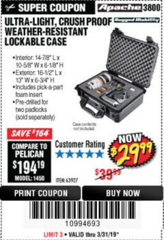 Harbor Freight Coupon APACHE 3800 WEATHERPROOF PROTECTIVE CASE Lot No. 63927 Valid Thru: 5/31/19 - $29.99