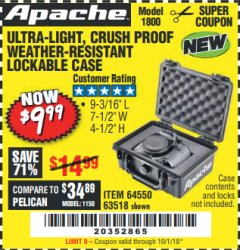 Harbor Freight Coupon APACHE 1800 WEATHERPROOF PROTECTIVE CASE Lot No. 64550/63518 Expired: 10/1/18 - $9.99