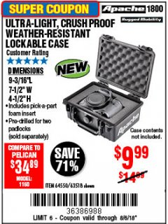 Harbor Freight Coupon APACHE 1800 WEATHERPROOF PROTECTIVE CASE Lot No. 64550/63518 Expired: 8/6/18 - $9.99