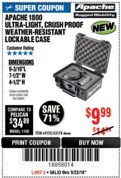 Harbor Freight Coupon APACHE 1800 WEATHERPROOF PROTECTIVE CASE Lot No. 64550/63518 Expired: 9/23/18 - $9.99