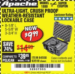 Harbor Freight Coupon APACHE 1800 WEATHERPROOF PROTECTIVE CASE Lot No. 64550/63518 Valid Thru: 9/3/19 - $9.99