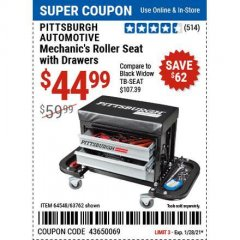 Harbor Freight Coupon MECHANIC'S ROLLER SEAT WITH DRAWERS Lot No. 63762/64548 Valid Thru: 1/28/21 - $44.99