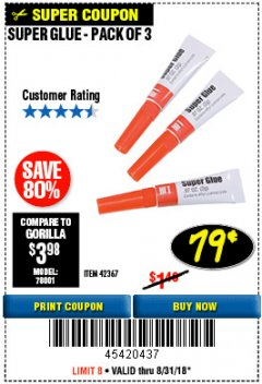 Harbor Freight Coupon SUPER GLUE PACK OF 3 Lot No. 42367 Expired: 8/31/18 - $0.79