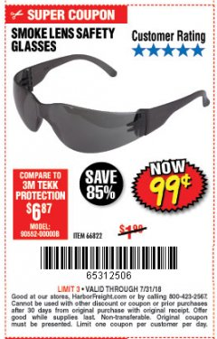Harbor Freight Coupon UV SAFETY GLASSES WITH SMOKE LENSES Lot No. 66822 Expired: 7/31/18 - $0.99