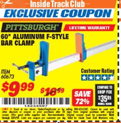 "Harbor Freight ITC Coupon 60"" ALUMINIUM F-STYLE BAR CLAMP Lot No. 60673 Expired: 5/31/18 - $9.99"