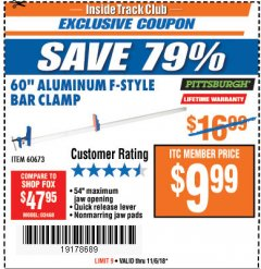"Harbor Freight ITC Coupon 60"" ALUMINIUM F-STYLE BAR CLAMP Lot No. 60673 Expired: 11/6/18 - $9.99"