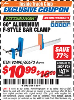 "Harbor Freight ITC Coupon 60"" ALUMINIUM F-STYLE BAR CLAMP Lot No. 60673 Expired: 2/28/19 - $10.99"