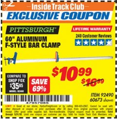 "Harbor Freight ITC Coupon 60"" ALUMINIUM F-STYLE BAR CLAMP Lot No. 60673 Dates Valid: 12/31/69 - 5/31/19 - $10.99"