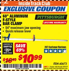 "Harbor Freight ITC Coupon 60"" ALUMINIUM F-STYLE BAR CLAMP Lot No. 60673 Expired: 9/30/19 - $10.99"