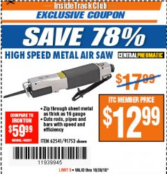 Harbor Freight ITC Coupon HIGH SPEED METAL SAW Lot No. 60568/62541/91753 Expired: 10/30/18 - $12.99