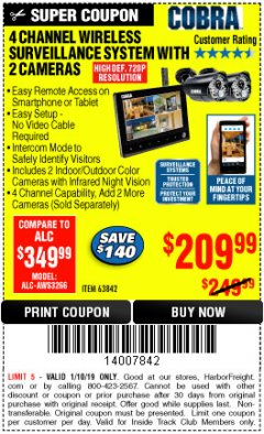 Harbor Freight ITC Coupon 4 CHANNEL WIRELESS SURVEILLANCE SYSTEM WITH 2 CAMERAS Lot No. 63842 Expired: 1/10/19 - $209.99