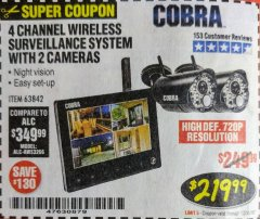 Harbor Freight Coupon 4 CHANNEL WIRELESS SURVEILLANCE SYSTEM WITH 2 CAMERAS Lot No. 63842 Expired: 12/31/18 - $219.99