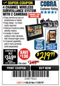 Harbor Freight Coupon 4 CHANNEL WIRELESS SURVEILLANCE SYSTEM WITH 2 CAMERAS Lot No. 63842 Expired: 11/30/18 - $219.99